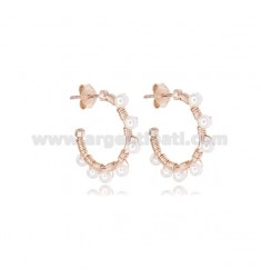 CIRCLE EARRINGS MM 15 IN ROSE SILVER WITH PEARLS TIT 925