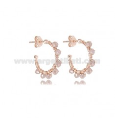 CIRCLE EARRINGS MM 15 IN ROSE SILVER AND TAUPE STONES TIT 925