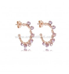 CIRCLE EARRINGS 15 MM IN ROSE SILVER WITH DARK LILAC STONES TIT 925