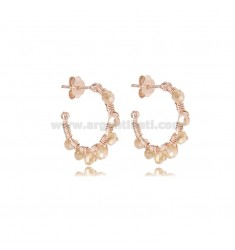 CIRCLE EARRINGS MM 15 IN ROSE SILVER WITH CHAMPAGNE STONES TIT 925