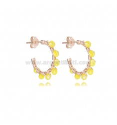 CIRCLE EARRINGS MM 15 IN ROSE SILVER WITH YELLOW GREEN STONES TIT 925