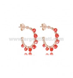 CIRCLE EARRINGS MM 15 IN ROSE SILVER WITH RED STONES TIT 925