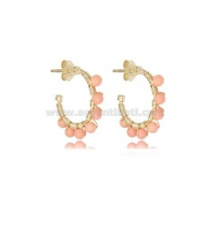 CIRCLE EARRINGS MM 15 IN GOLDEN SILVER WITH PINK CORAL PASTE TIT 925