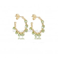 CIRCLE EARRINGS MM 15 IN GOLDEN SILVER WITH GREEN STONES TIT 925