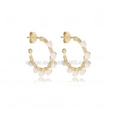 CIRCLE EARRINGS MM 15 IN GOLDEN SILVER AND STONES IVORY TIT 925