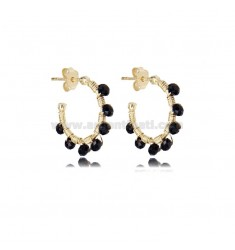 CIRCLE EARRINGS MM 15 IN GOLDEN SILVER WITH BLACK STONES TIT 925
