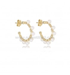 CIRCLE EARRINGS MM 15 IN GOLDEN SILVER WITH PEARLS TIT 925