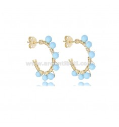 CIRCLE EARRINGS MM 15 IN GOLDEN SILVER AND TURQUOISE PASTA TIT 925