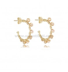 CIRCLE EARRINGS MM 15 IN GOLDEN SILVER WITH STONES CHAMPAGNE TIT 925