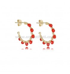 CIRCLE EARRINGS MM 15 IN GOLDEN SILVER WITH RED STONES TIT 925