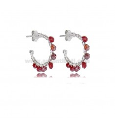 CIRCLE EARRINGS MM 15 IN SILVER RHODIUM AND STONES BORDEAUX TIT 925