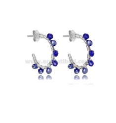 CIRCLE EARRINGS MM 15 IN SILVER RHODIUM AND BLUE STONES TIT 925