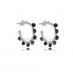 CIRCLE EARRINGS MM 15 IN SILVER RHODIUM AND STONES BLUE NIGHT BOREAL TIT 925