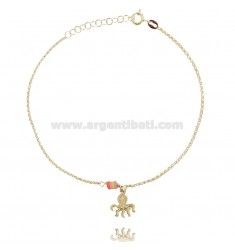 ANKLE ROLO 'WITH PENDANT OCTOPUS AND SILICONE IN GOLD SILVER TIT 925 ‰ CM 22 EXTENDABLE TO 25