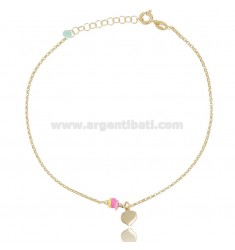 ANKLE ROLO 'WITH HEART PENDANT AND SILICONE IN GOLD SILVER TIT 925 ‰ CM 22 EXTENDABLE TO 25