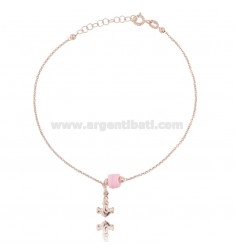 ANKLE ROLO 'WITH STILL PENDANT AND SILICONE IN ROSE SILVER TIT 925 ‰ CM 22 EXTENDABLE TO 25