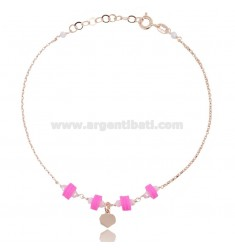 ANKLE ROLO 'WITH HEART PENDANT AND SILICONE IN ROSE SILVER TIT 925 ‰ CM 22 EXTENDABLE TO 25