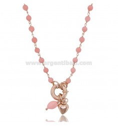 NECKLACE ROLO 'WITH HEART PENDANT AND PINK CORAL PASTE IN ROSE SILVER TIT 925 ‰ 42 CM