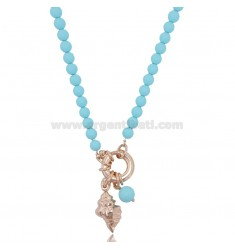 NECKLACE ROLO 'WITH PENDANT SHELL AND TURQUOISE PASTE IN ROSE SILVER TIT 925 ‰ 42 CM