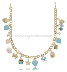 NECKLACE WITH CHARMS AND CRYSTALS IN GOLDEN SILVER TIT 925 SM AND ENAMEL 40 CM
