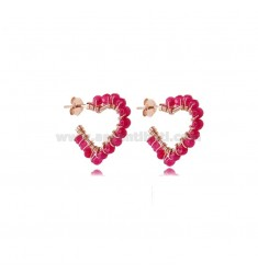 HEART CIRCLE EARRINGS 1 MIS IN ROSE SILVER TIT 925 AND STONES