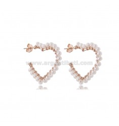HEART CIRCLE EARRINGS 2 MIS IN ROSE SILVER WITH PEARLS TIT 925
