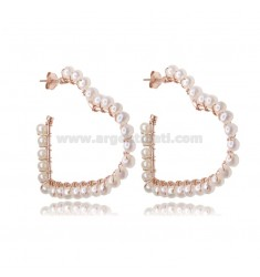 HEART CIRCLE EARRINGS 3 MIS IN ROSE SILVER WITH PEARLS TIT 925