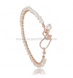 CIRCLE BRACELET WITH SHELL PENDANT IN ROSE SILVER TIT 925 AND PEARLS