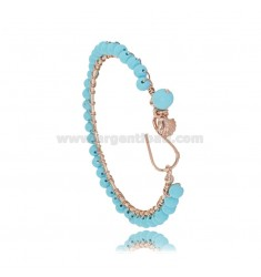 CIRCLE BRACELET WITH SHELL PENDANT IN ROSE SILVER TIT 925 AND TURQUOISE PASTA