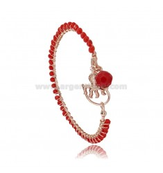 CIRCLE BRACELET WITH CHARMS PENDANT IN ROSE SILVER TIT 925 AND STONES