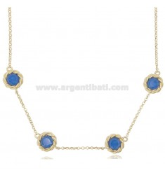 NECKLACE ROLO 'WITH 4 ROUND TORCHON WITH BLUE HYDROTHERMAL STONES IN GOLDEN SILVER TIT 925 CM 41-43