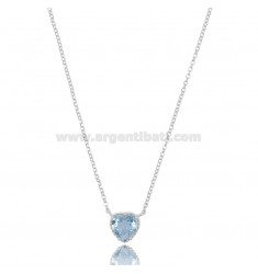 NECKLACE ROLO 'CM 42-44 WITH HEART 10 MM IN SILVER RHODIUM TIT 925 AND CELESTE ZIRCON