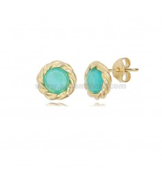 ROUND LOBO EARRINGS TORCHON WITH GREEN HYDROTHERMAL STONES IN GOLDEN SILVER TIT 925