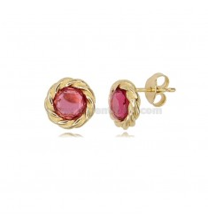 ROUND LOBO EARRINGS TORCHON WITH RED HYDROTHERMAL STONES IN GOLDEN SILVER TIT 925