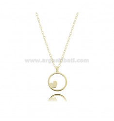 ROLO NECKLACE WITH HEART IN THE CIRCLE PENDANT IN GOLDEN SILVER TIT 925 ‰ CM 45