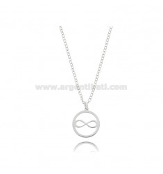 NECKLACE ROLO WITH INFINITY IN THE CIRCLE PENDANT IN SILVER RHODIUM TIT 925 ‰ CM 45
