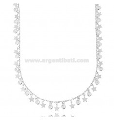 NECKLACE CABLE WITH STARS AND WHITE ZIRCONIA PENDING SILVER RHODIUM TIT 925 CM 40