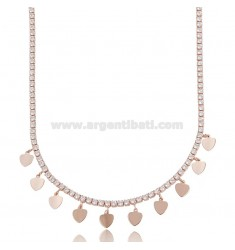 TENNIS NECKLACE WITH HEARTS PENDING IN ROSE SILVER TIT 925 AND ZIRCONIA CM 45