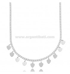 TENNIS NECKLACE WITH HEARTS IN SILVER RHODIUM TIT 925 AND ZIRCONIA 45 CM