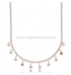 TENNIS NECKLACE WITH STARS IN ROSE SILVER TIT 925 AND ZIRCONIA CM 45