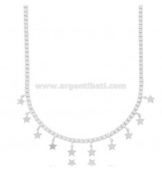 TENNIS NECKLACE WITH STARS IN SILVER RHODIUM TIT 925 AND ZIRCONIA 45 CM