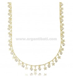 NECKLACE CABLE WITH STARS AND WHITE ZIRCONIA GOLDEN SILVER PENDANTS TIT 925 CM 40