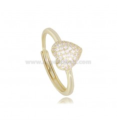 RING WITH HEART IN GOLDEN SILVER TIT 925 AND WHITE ZIRCONIA ADJUSTABLE SIZE FROM 12