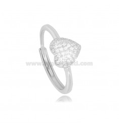 RING WITH HEART IN SILVER RHODIUM TIT 925 AND WHITE ZIRCONIA SIZE ADJUSTABLE FROM 12