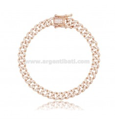 GROUMETTE BRACELET 6 MM IN ROSE SILVER TIT 925 AND WHITE ZIRCONIA 18 CM