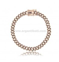GROUMETTE BRACELET 6 MM IN ROSE SILVER TIT 925 AND BLACK ZIRCONIA 18 CM