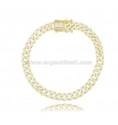 GROUMETTE BRACELET 6 MM SILVER GOLDEN TIT 925 AND WHITE ZIRCONIA 18 CM