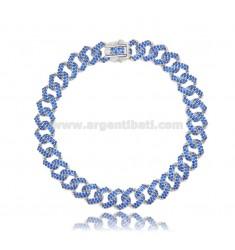 GROUMETTE BRACELET 8 MM SILVER RHODIUM TIT 925 AND BLUE ZIRCONIA 18 CM