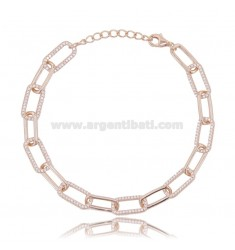 CABLE BRACELET EXTENDED MM 7X3.5 IN ROSE SILVER TIT 925 AND WHITE ZIRCONS 18-20 CM