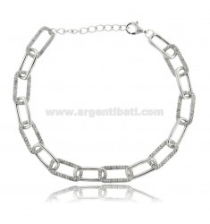 CABLE BRACELET EXTENDED MM 7X3.5 IN SILVER RHODIUM-PLATED TIT 925 AND WHITE ZIRCONIA CM 18-20